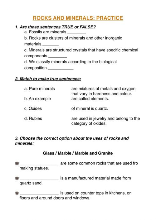 small resolution of Rocks and mineral practice worksheet