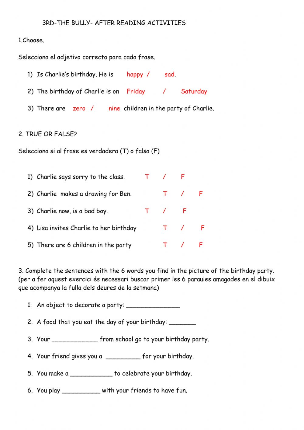 medium resolution of 3rd- THE BULLY- 2nND PART worksheet