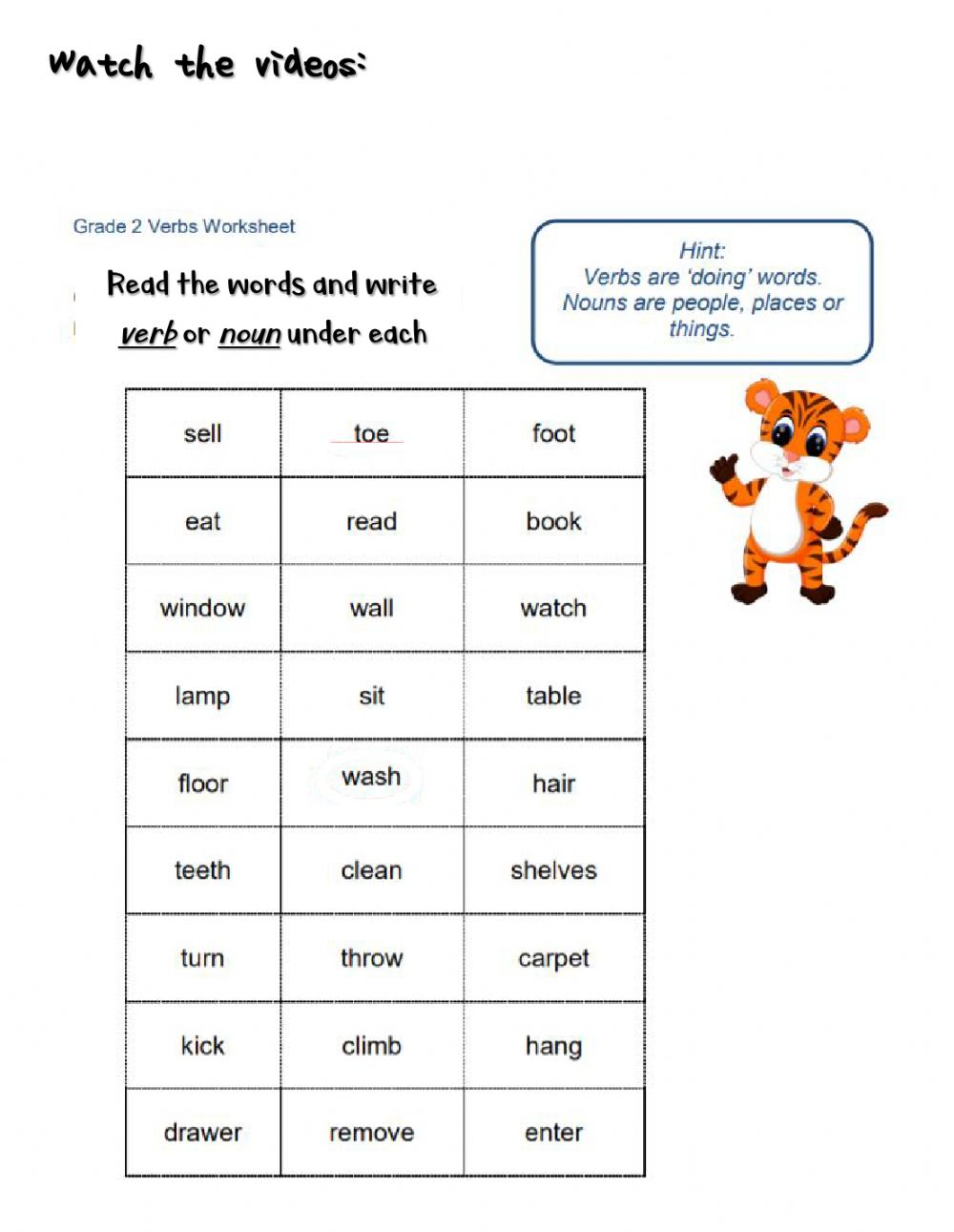 hight resolution of Verbs and nouns interactive worksheet