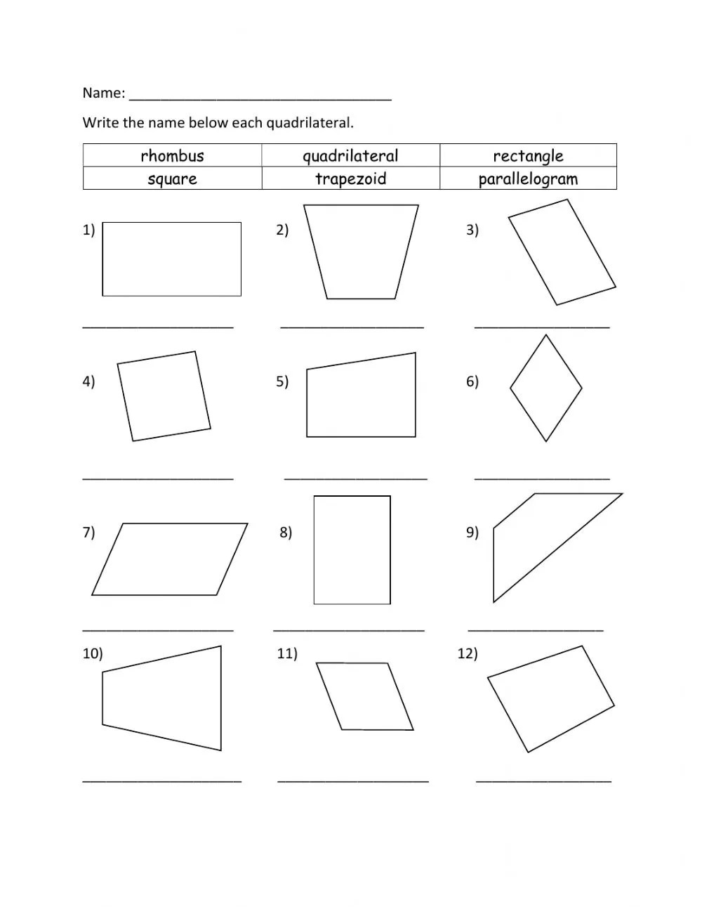 hight resolution of Identifying Quadrilateral worksheet