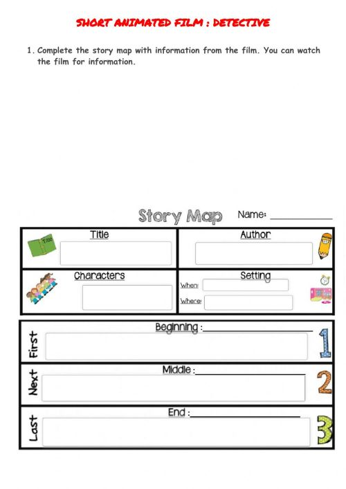 small resolution of Story elements map -The detective- worksheet