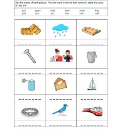Phonics - Regular Double Vowels ai-ay worksheet [ 1291 x 1000 Pixel ]