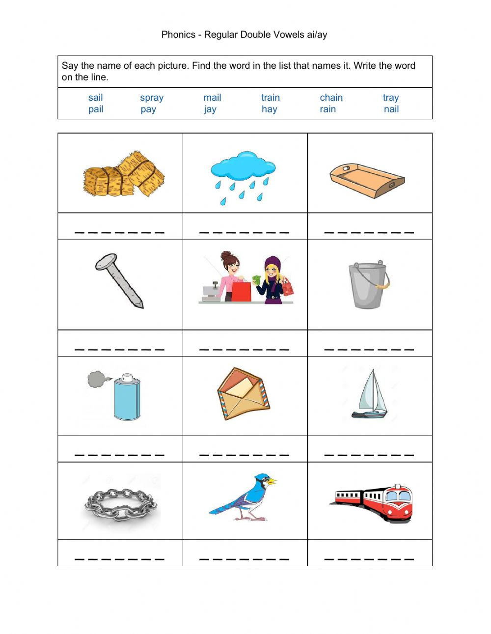 medium resolution of Phonics - Regular Double Vowels ai-ay worksheet