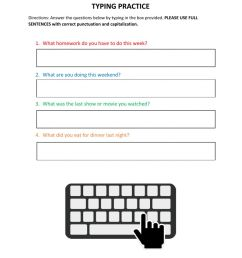 Typing Practice - Answer Questions worksheet [ 1291 x 1000 Pixel ]