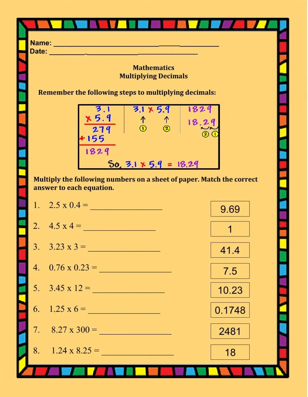 medium resolution of Multiplying Decimals interactive worksheet