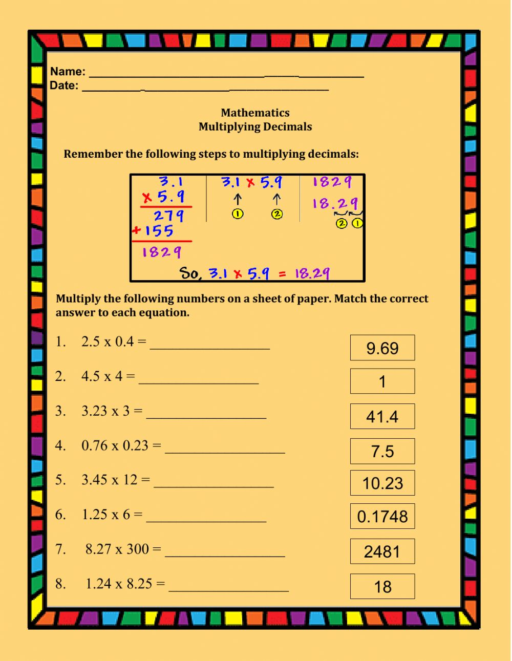 hight resolution of Multiplying Decimals interactive worksheet