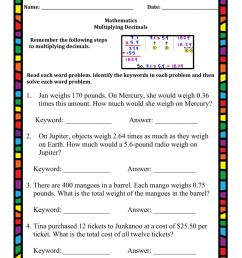 Multiplying Decimals Word Problems worksheet [ 1291 x 1000 Pixel ]