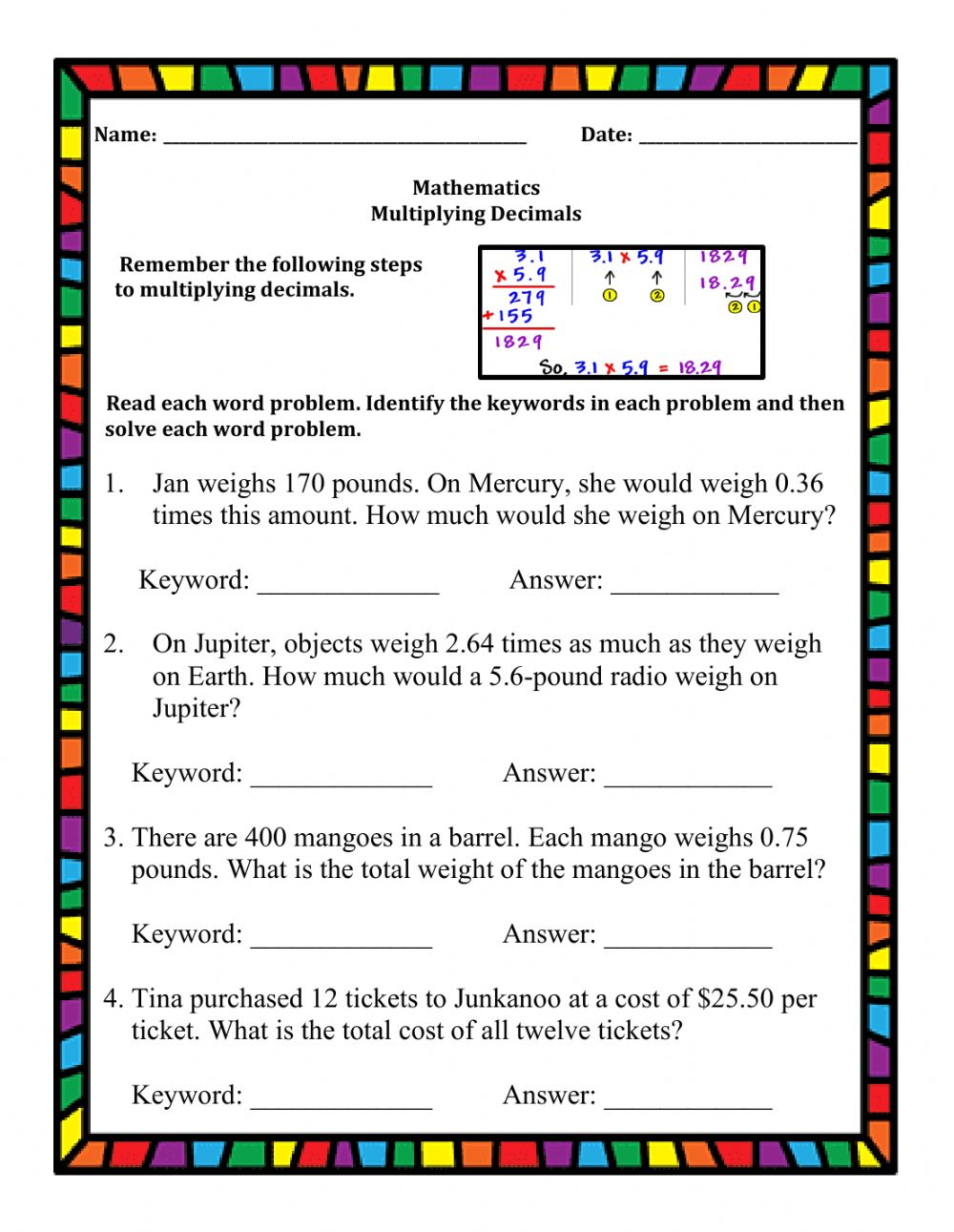 hight resolution of Multiplying Decimals Word Problems worksheet