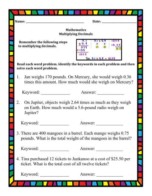 small resolution of Multiplying Decimals Word Problems worksheet