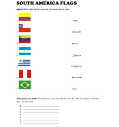 South America Flags worksheet [ 1291 x 1000 Pixel ]
