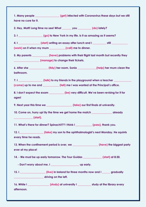 small resolution of Mixed tenses B1 worksheet