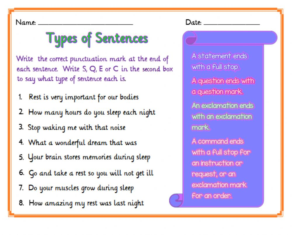 hight resolution of What Kind of Sentence? worksheet