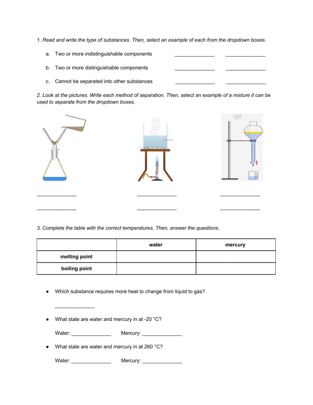 hight resolution of Natural Science 6th Grade ESL - Unit 7 Matter and Energy online worksheet