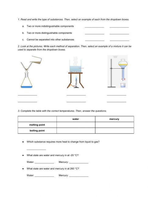 small resolution of Natural Science 6th Grade ESL - Unit 7 Matter and Energy online worksheet
