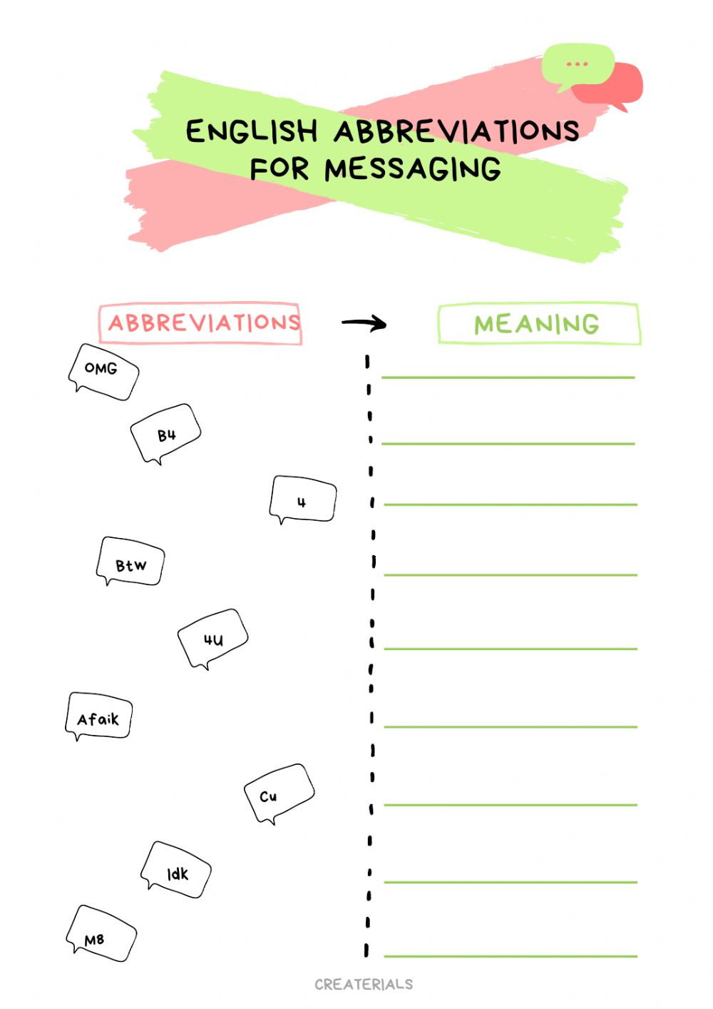hight resolution of Abbreviations in Whatsapp worksheet