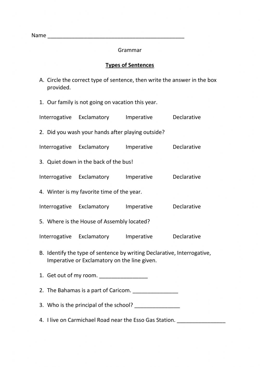 medium resolution of Type of Sentences interactive worksheet