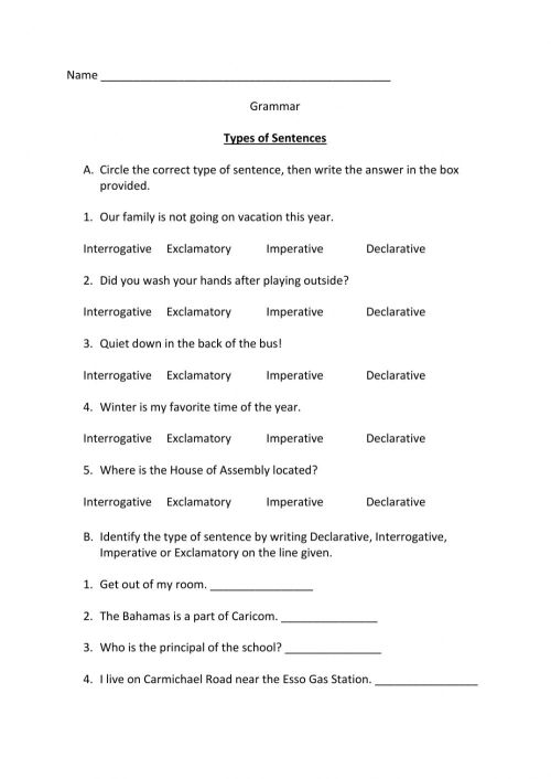 small resolution of Type of Sentences interactive worksheet