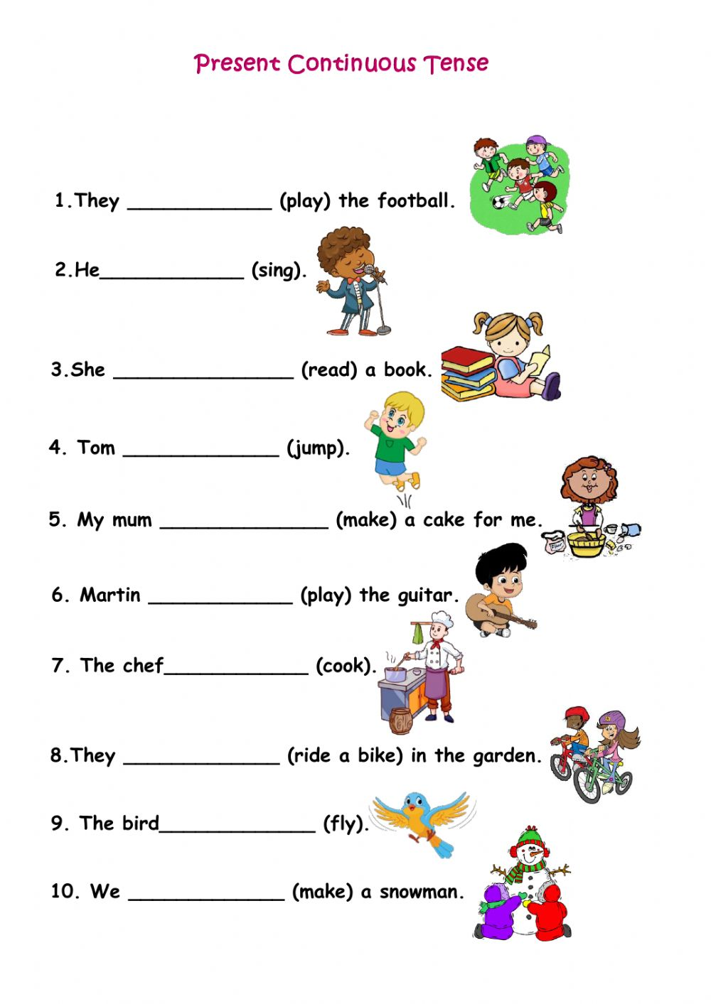 hight resolution of Present Continuous Tense interactive activity for Grade 2
