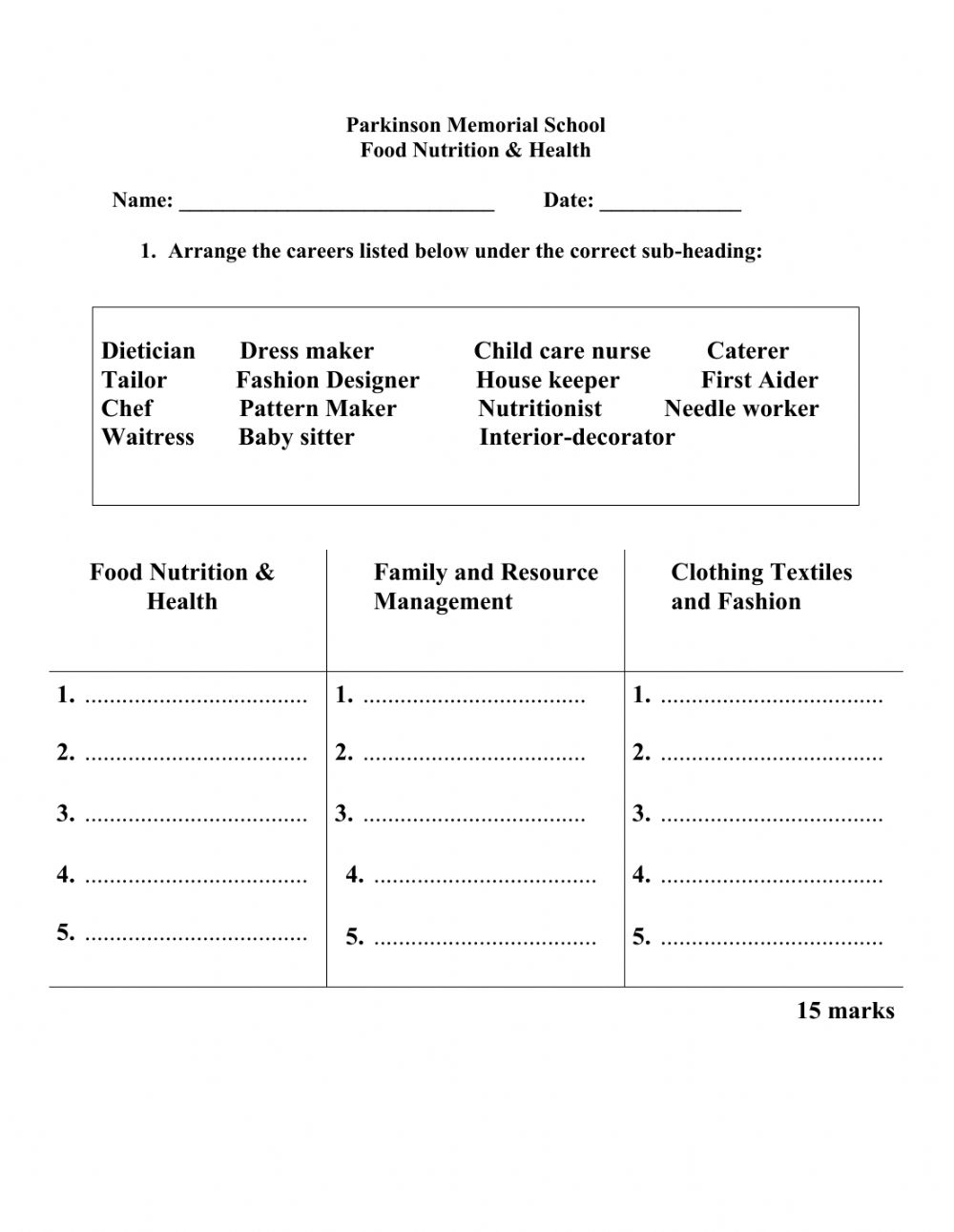 medium resolution of What is Home Economics and its careers? worksheet