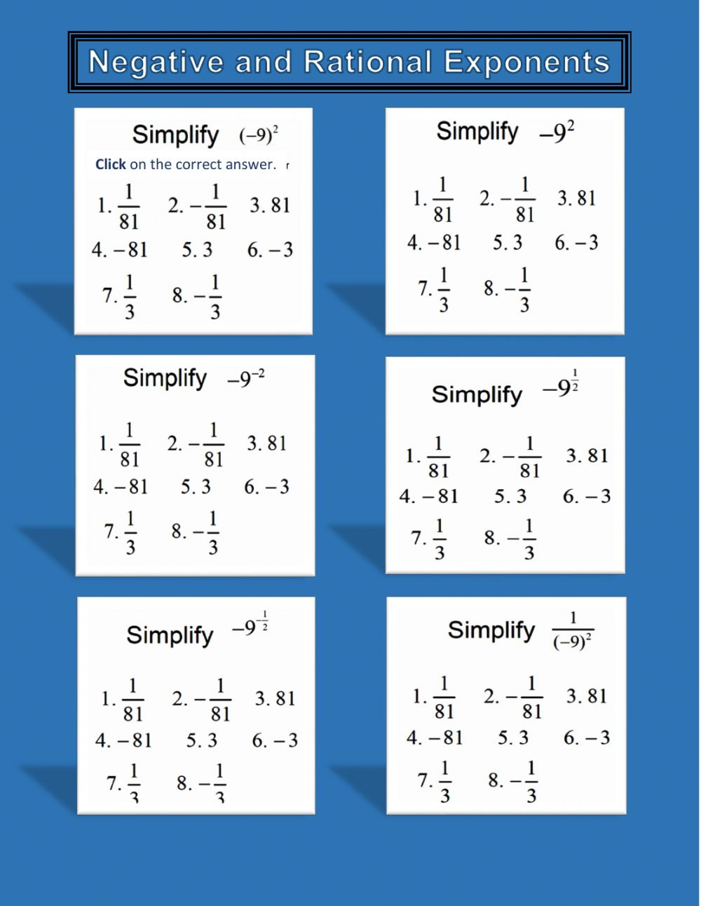 hight resolution of Negative and Rational (Fractional) Exponents worksheet