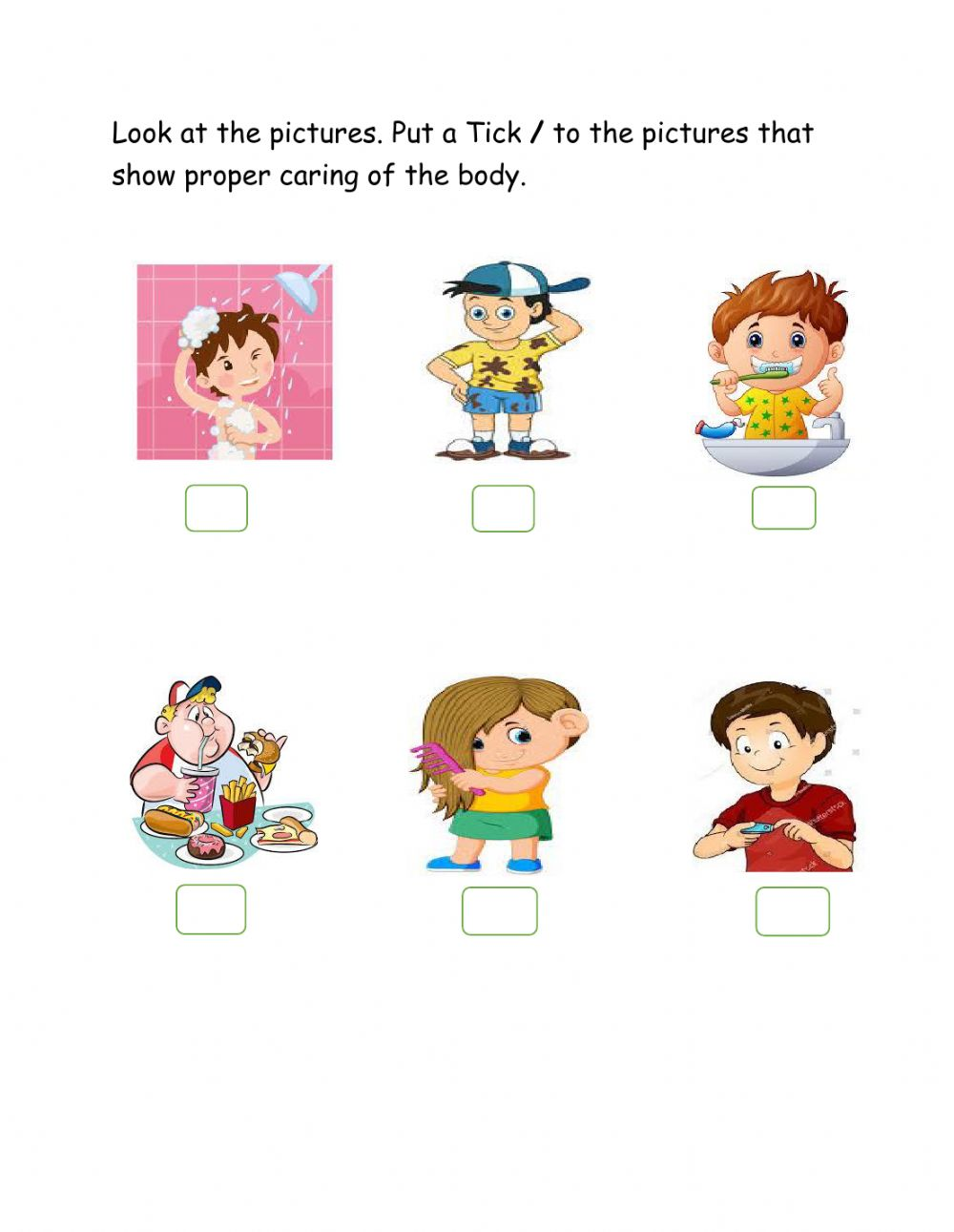 medium resolution of Caring for The Body worksheet