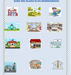 Name the places in my neighbourhood worksheet [ 1291 x 1000 Pixel ]