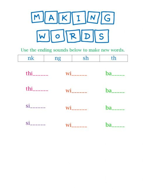 small resolution of Making Words- final consonant digraphs and blends worksheet