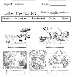 Animal Habitats- Wednesday worksheet [ 1291 x 1000 Pixel ]