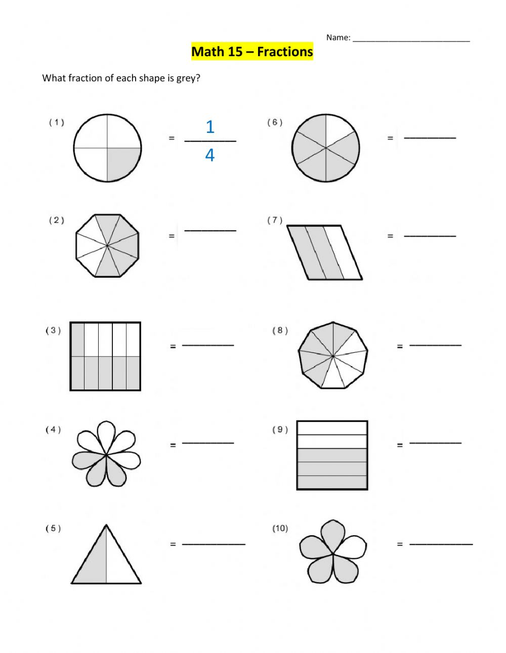 hight resolution of Introduction to Fractions worksheet