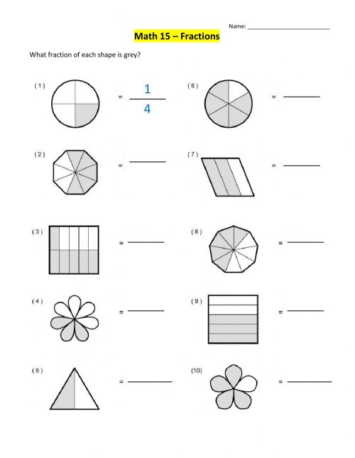 small resolution of Introduction to Fractions worksheet