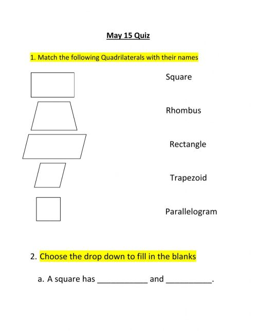 small resolution of Quadrilaterals online worksheet