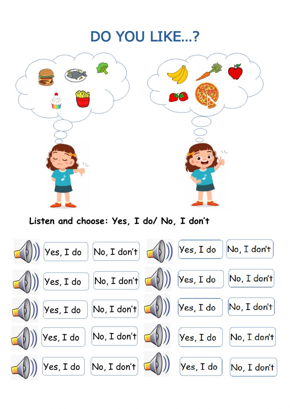 hight resolution of Do you like? online exercise for Grade 1