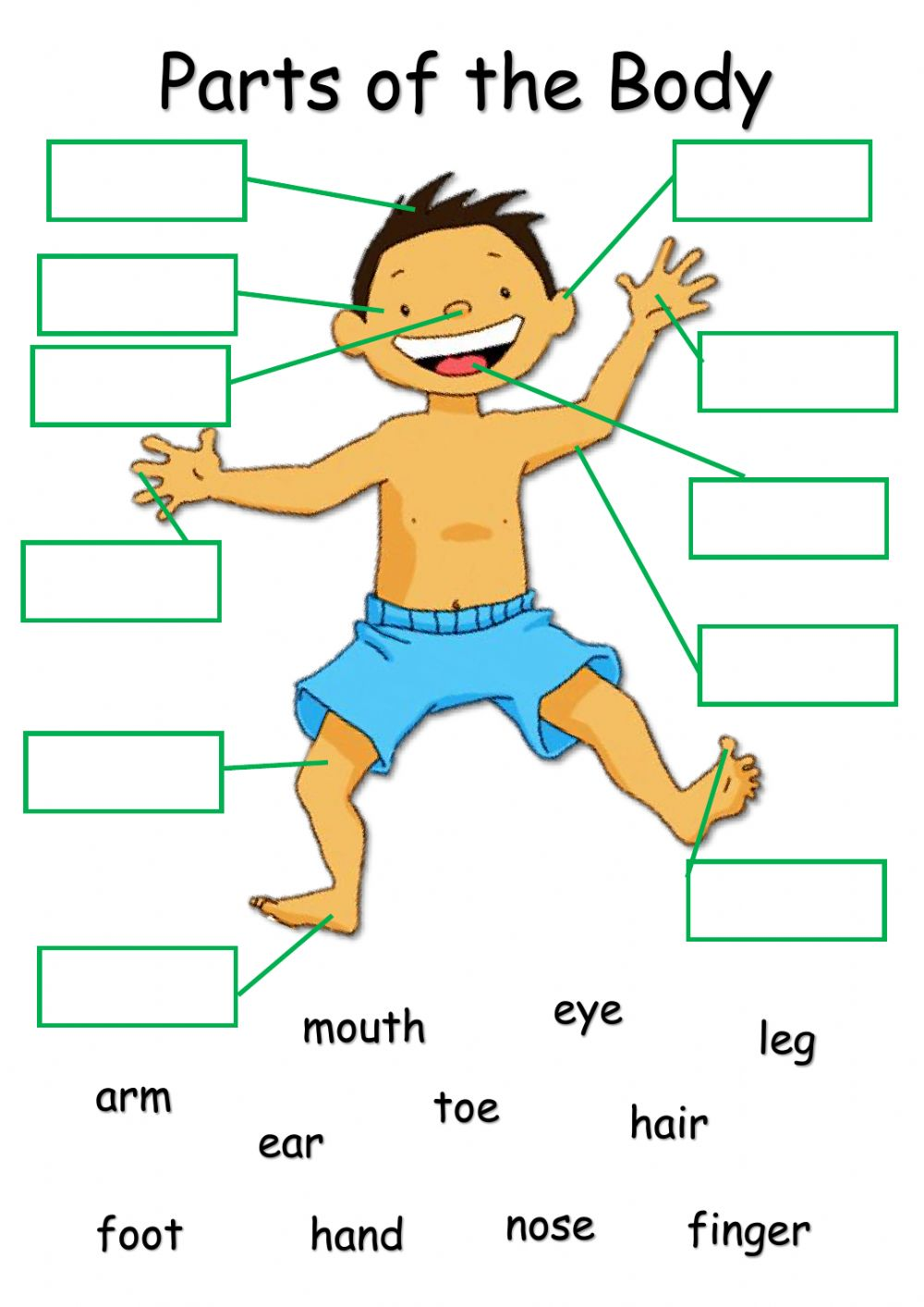 medium resolution of Body Parts online exercise for Grade 2