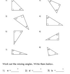 Missing Angle in Triangle worksheet [ 1569 x 1000 Pixel ]
