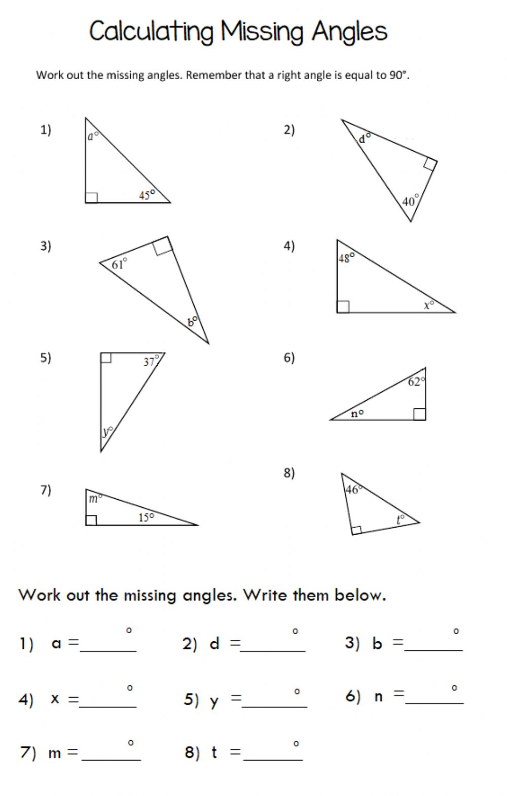 hight resolution of Missing Angle in Triangle worksheet