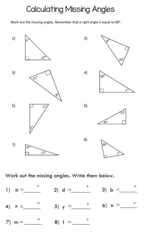 small resolution of Missing Angle in Triangle worksheet