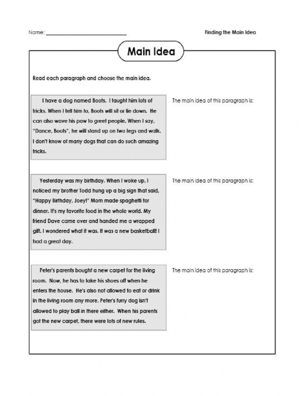 hight resolution of Finding the MAIN IDEA interactive worksheet