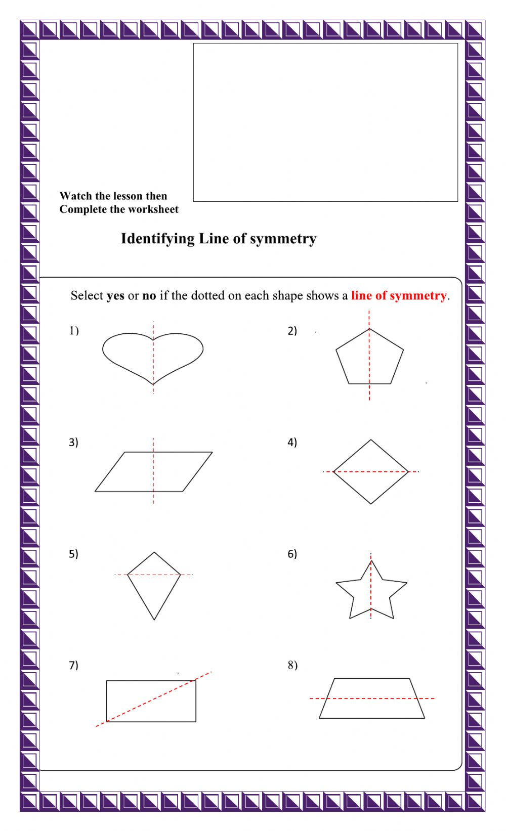 hight resolution of Line of Symmetry interactive worksheet
