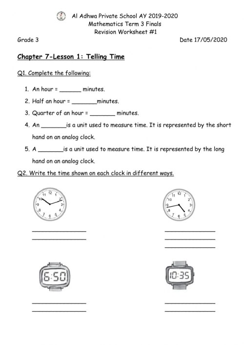 small resolution of Telling Time Worksheet worksheet