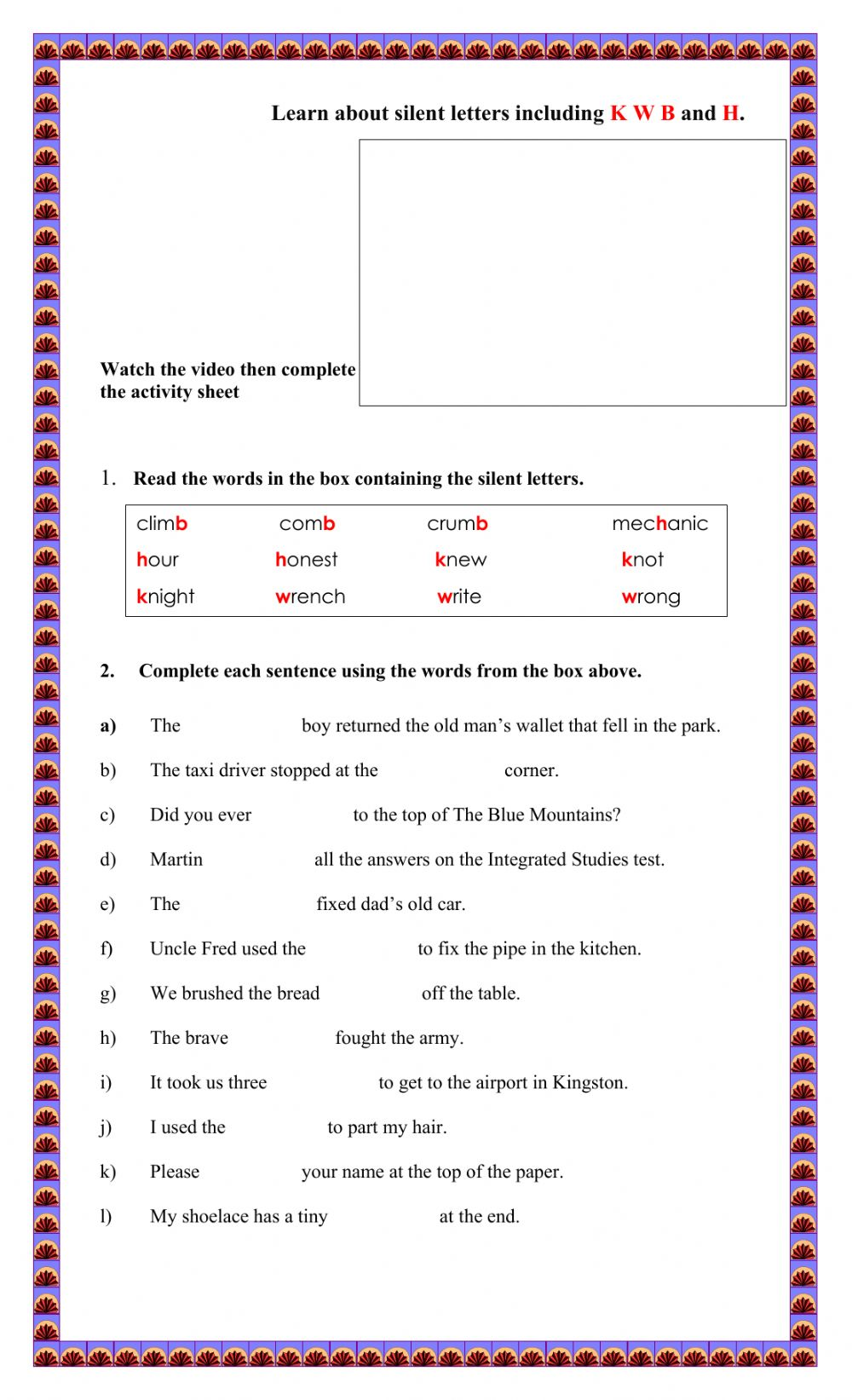 hight resolution of Silent Letters exercise