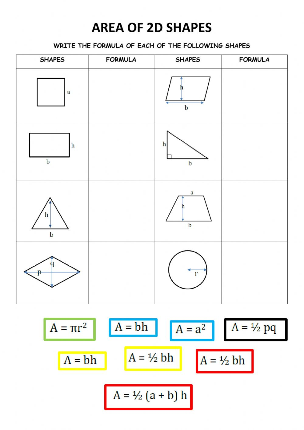 hight resolution of Area of 2d shapes worksheet