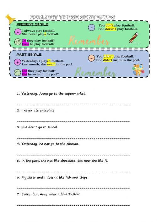 small resolution of Correct the sentences worksheet