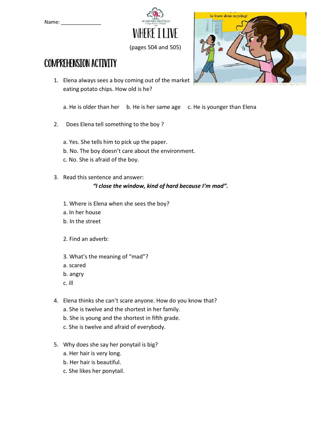 hight resolution of Reading comprehension online exercise for 6TH GRADE