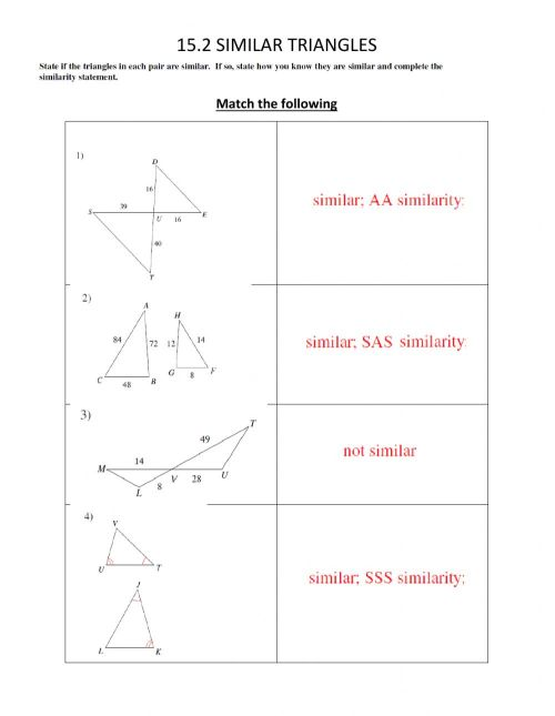 small resolution of Similar Triangles worksheet