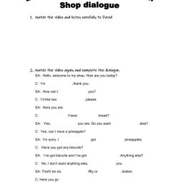 Dialogue in a shop worksheet [ 1413 x 1000 Pixel ]