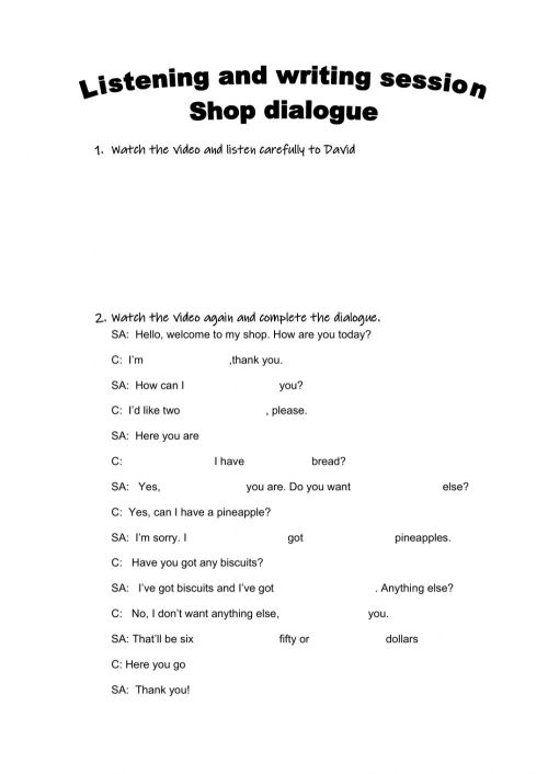 small resolution of Dialogue in a shop worksheet