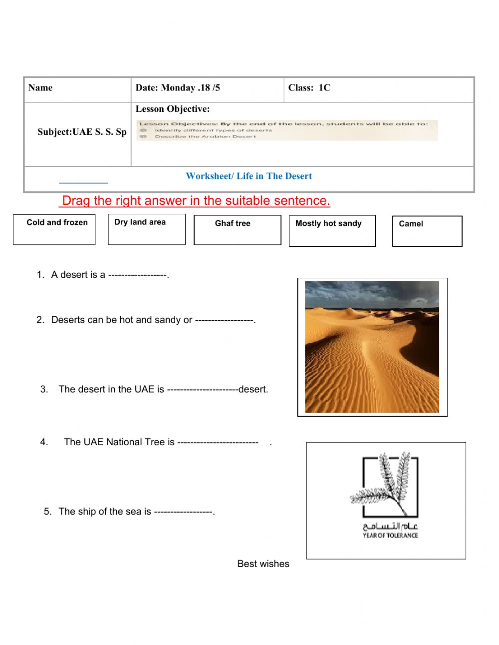 hight resolution of Life in the desert interactive worksheet