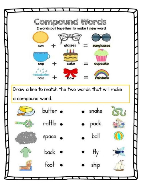 small resolution of Compound words online worksheet for grade 1