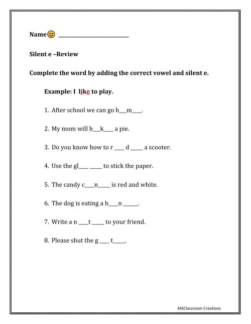 small resolution of Silent E worksheet