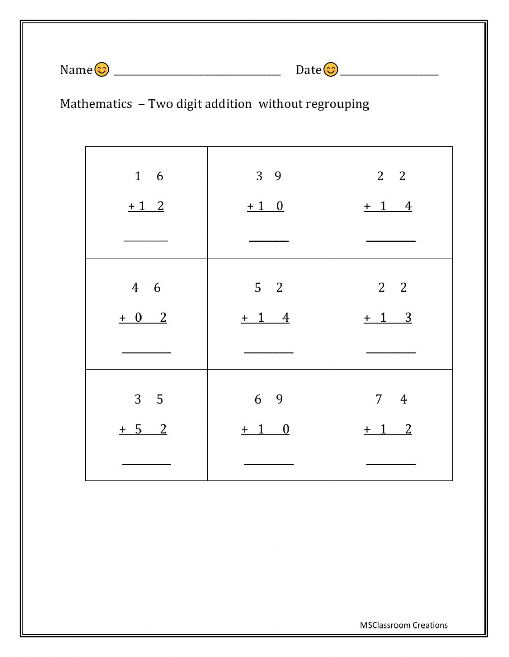 hight resolution of Two digit addition - without regrouping worksheet